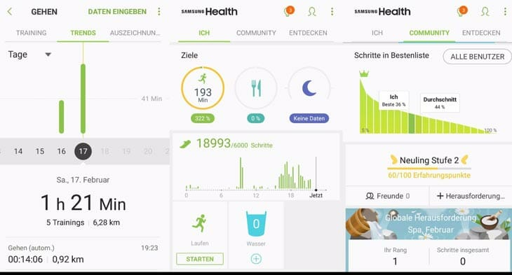 samsung health app screenshots